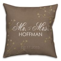 """""""Mr. and. Mrs."""" Golden Branch 16-Inch Square Throw Pillow in Brown"""