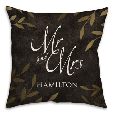 """""""Mr. and Mrs."""" Gold Leaf 16-Inch Square Throw Pillow in Black"""