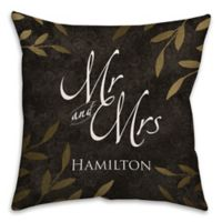 """Mr. and Mrs."" Gold Leaf 16-Inch Square Throw Pillow in Black"