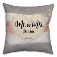 """Mr. & Mrs."" Watercolor Linen Love 16-Inch Square Throw Pillow"