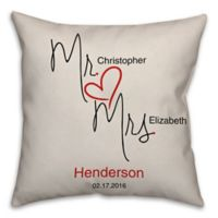 """Mr. & Mrs."" Handwritten Love 16-Inch Square Throw Pillow in White"