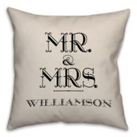 """Mr. & Mrs."" Scripted Love 16-Inch Square Throw Pillow in White"