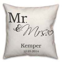 """Mr. and Mrs."" Scripted Heart 16-Inch Square Throw Pillow in White"