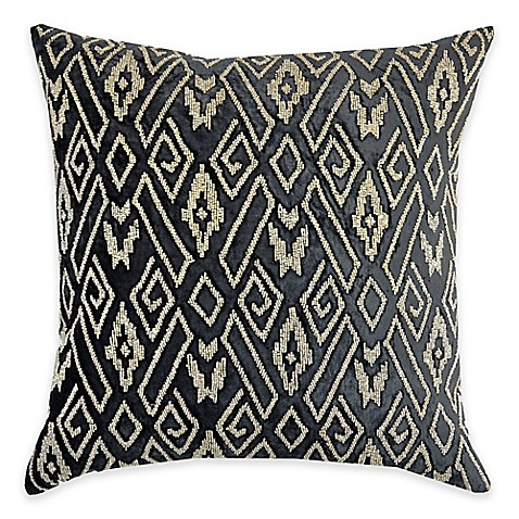 image of Callisto Home Geometric Gold Beaded Avanti Square Throw Pillow in Grey