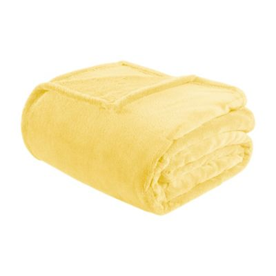 buy yellow plush blanket from bed bath beyond