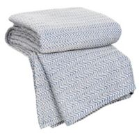Nottingham Home Chevron Cotton Twin Blanket in Blue