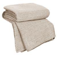 Nottingham Home Chevron Cotton Full/Queen Blanket in Chocolate