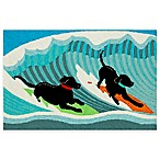 Trans-Ocean Front Porch Surfing Dogs 2-Foot x 3-Foot Indoor/Outdoor Accent Rug