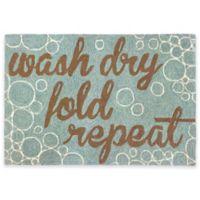 """Trans-Ocean Front Porch """"Wash Dry Fold"""" 2-Foot x 3-Foot Indoor/Outdoor Doormat in Aqua"""