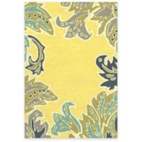 Trans-Ocean Ravella Ornamental Leaf 2-Foot x 3-Foot Indoor/Outdoor Accent Rug in Yellow