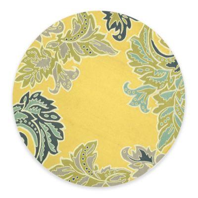 Trans Ocean Ravella Ornamental Leaf 8 Foot Round Indoor/Outdoor Rug In  Yellow