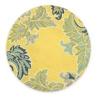 Trans-Ocean Ravella Ornamental Leaf 8-Foot Round Indoor/Outdoor Rug in Yellow