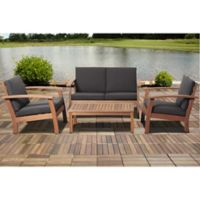 Amazonia Guadalupe 4-Piece Conversation Set in Black