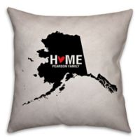Alaska State Pride 16-Inch x 16-Inch Square Throw Pillow in Black/White