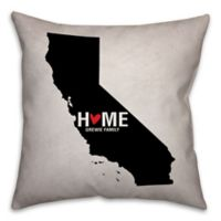 California State Pride 16-Inch x 16-Inch Square Throw Pillow in Black/White