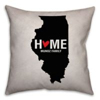 Illinois State Pride 16-Inch x 16-Inch Square Throw Pillow in Black/White