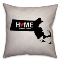 Massachusetts State 16-Inch x 16-Inch Pride Square Throw Pillow in Black/White