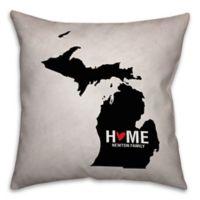 Michigan State 16-Inch x 16-Inch Pride Square Throw Pillow in Black/White