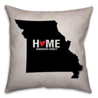 Missouri State Pride 16-Inch x 16-Inch Square Throw Pillow in Black/White