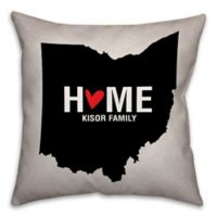 Ohio State Pride 16-Inch x 16-Inch Square Throw Pillow in Black/White