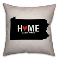 Pennsylvania State Pride 16-Inch x 16-Inch Square Throw Pillow in Black/White