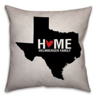 Texas State Pride 16-Inch x 16-Inch Square Throw Pillow in Black/White