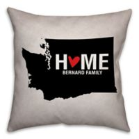 Washington State Pride 16-Inch x 16-Inch Square Throw Pillow in Black/White