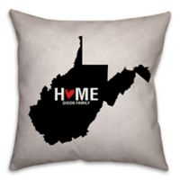 West Virginia State Pride 16-Inch x 16-Inch Square Throw Pillow in Black/White