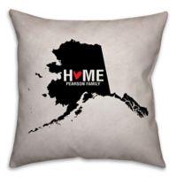 Alaska State Pride Square Throw Pillow in Black/White