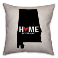 Alabama State Pride Square Throw Pillow in Black/White