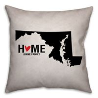 Maryland State Pride Square Throw Pillow in Black/White
