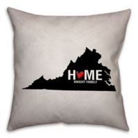 Virginia State Pride Square Throw Pillow in Black/White