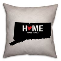 Connecticut State Pride Square Throw Pillow in Black/White
