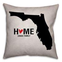 Florida State Pride Square Throw Pillow in Black/White