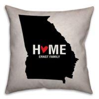 Georgia State Pride Square Throw Pillow in Black/White