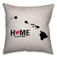 Hawaii State Pride Square Throw Pillow in Black/White
