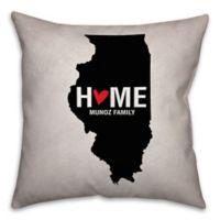 Illinois State Pride Square Throw Pillow in Black/White