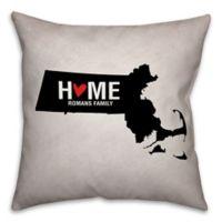 Massachusetts State Pride Square Throw Pillow in Black/White