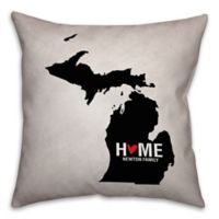 Michigan State Pride Square Throw Pillow in Black/White