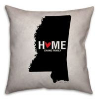 Mississippi State Pride Square Throw Pillow in Black/White