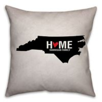 North Carolina State Pride Square Throw Pillow in Black/White