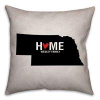 Nebraska State Pride Square Throw Pillow in Black/White