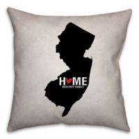 New Jersey State Pride Square Throw Pillow in Black/White