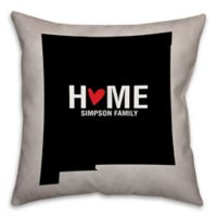 New Mexico State Pride Square Throw Pillow in Black/White
