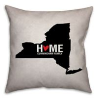 New York State Pride Square Throw Pillow in Black/White