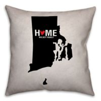Rhode Island State Pride Square Throw Pillow in Black/White