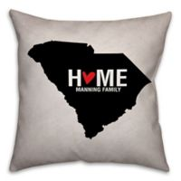South Carolina State Pride Square Throw Pillow in Black/White