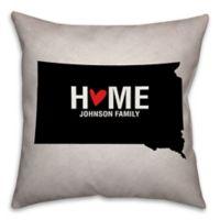South Dakota State Pride Square Throw Pillow in Black/White