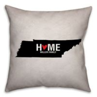 Tennessee State Pride Square Throw Pillow in Black/White