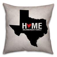 Texas State Pride Square Throw Pillow in Black/White